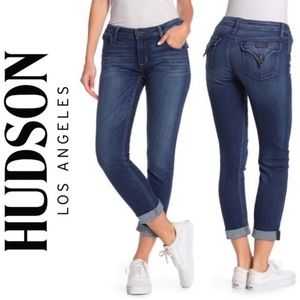 Hudson Jeans Bacara Rolled Crop Jeans Blue Ashes